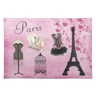 Chic Girly Pink Paris Fashion Placemat