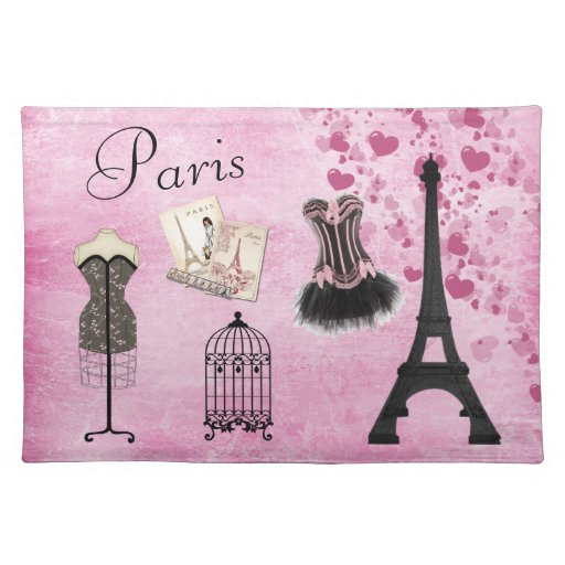 Chic girly pink paris fashion placemat zazzle - Chic and stylish pink bedroom design ideas for all time girly look ...