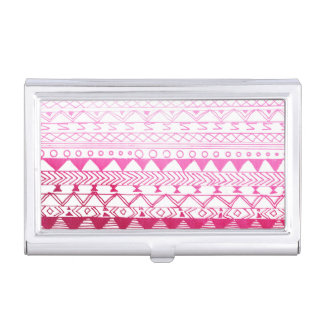 Chic girly pink watercolor aztec pattern business card holder