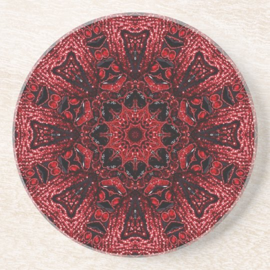 chic girly red floral bohemian pattern burgundy coasters