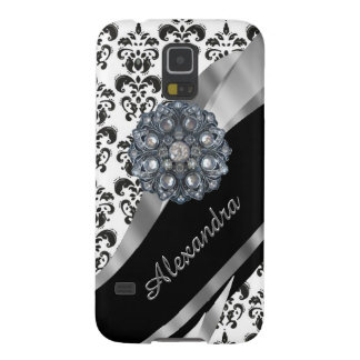 Chic girly vintage damask personalized galaxy s5 cover