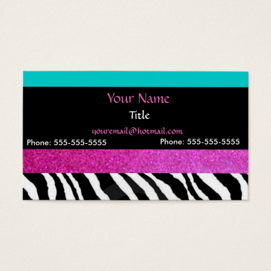 Chic girly zebra print- Bright Colours Business Card