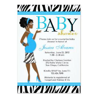 Chic Glam Modern Mom Blue Zebra Baby Shower 13 Cm X 18 Cm Invitation Card