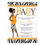 Chic Glam Modern Mom Blue Zebra Baby Shower Announcements