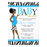 Chic Glam Modern Mum Blue Zebra Baby Shower Invitation