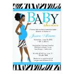 Chic Glam Modern Mum Blue Zebra Baby Shower Invitation