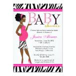 Chic Glam Modern Mum Pink Zebra Baby Shower 13 Cm X 18 Cm Invitation Card