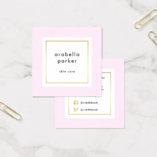 Chic Glam Pink and Faux Gold Social Media Square Business Card