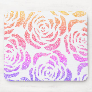 Chic Glitter Effect Colorful Roses White Mousepad
