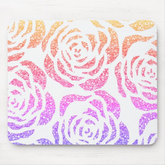 Chic Glitter Effect Colourful Roses White Mousepad