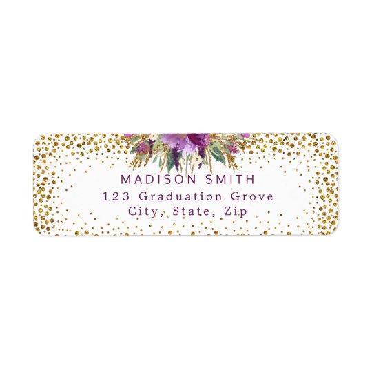 Chic Glitter Watercolor Flowers Gold Confetti Return Address