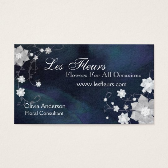 Chic Glittery Flowers Florist Business Cards