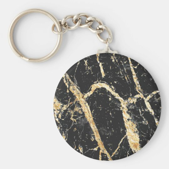 Chic Gold and Black Marble Pattern Key Ring
