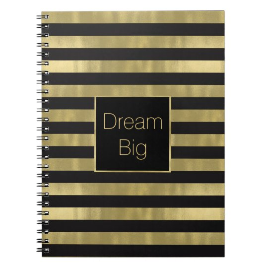 Chic Gold and Black Stripes Dream Big Personalised Notebooks