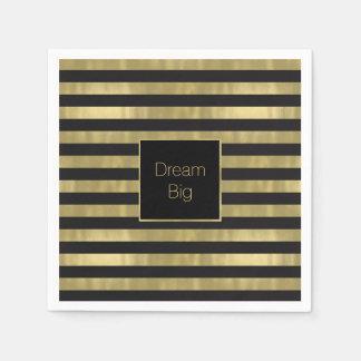 Chic Gold and Black Stripes Dream Big Personalized Paper Napkin