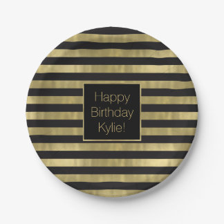 Chic Gold and Black Stripes Dream Big Personalized Paper Plate
