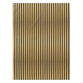 Chic Gold and Black Stripes Tablecloth