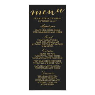 Chic Gold and Black Wedding Menu 10 Cm X 24 Cm Invitation Card