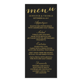 Chic Gold and Black Wedding Menu Card