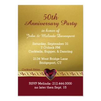Chic Gold and Red Fiftieth Wedding Anniversary 13 Cm X 18 Cm Invitation Card