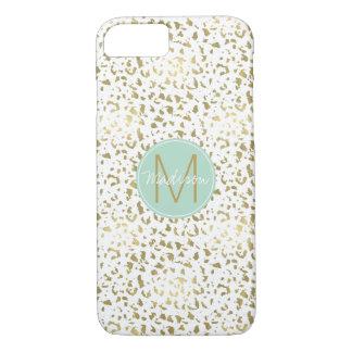 Chic Gold and White Animal Print Monogram iPhone 8/7 Case
