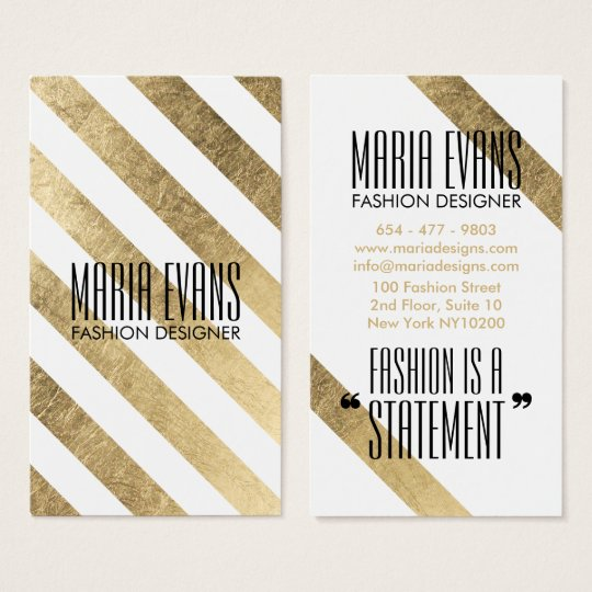 Chic gold and white faux foil leaf stripes