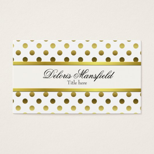 Chic Gold and White Polka Dot Business Card