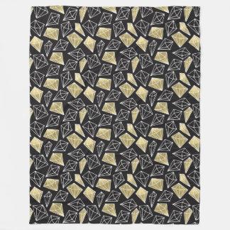 Chic Gold Black Diamonds Fleece Blanket