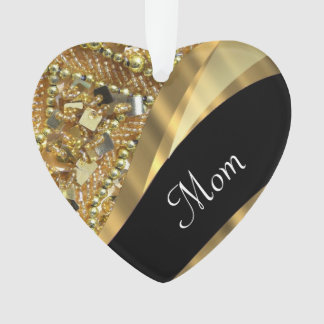 Chic gold bling mothers day ornament
