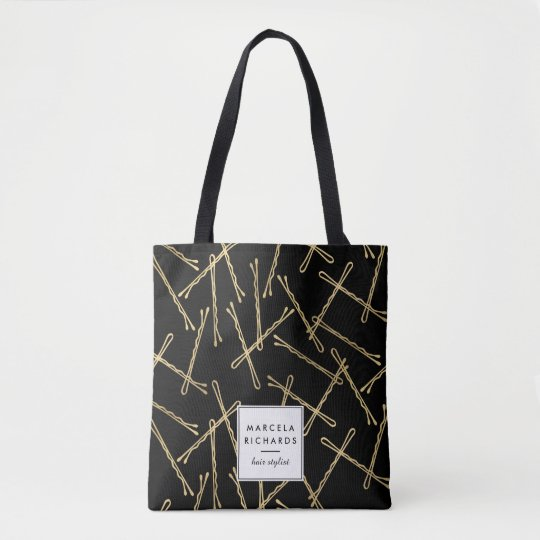 Chic Gold Bobby Pins Black Personalised Tote Bag