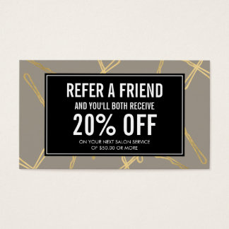 Chic Gold Bobby Pins Hair Salon Gray Referral Card