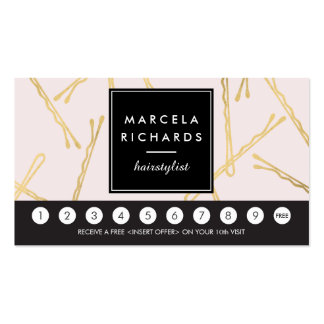 Chic Gold Bobby Pins Hair Salon Pink Loyalty Card Pack Of Standard Business Cards