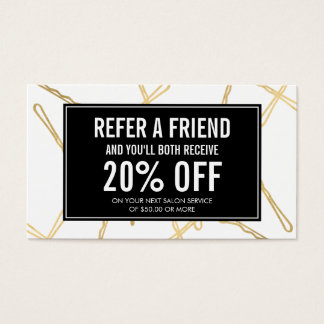 Chic Gold Bobby Pins Hair Salon Referral Card