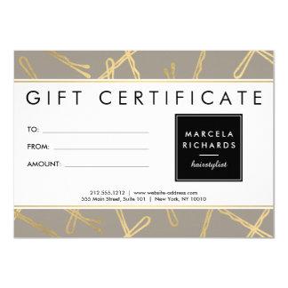 Chic Gold Bobby Pins Hair Stylist Gray Gift Card 11 Cm X 16 Cm Invitation Card