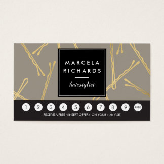 Chic Gold Bobby Pins Hair Stylist Gray Loyalty Business Card