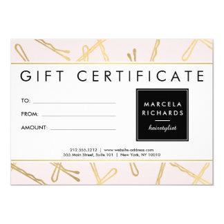 Chic Gold Bobby Pins Hair Stylist Pink Gift Card 11 Cm X 16 Cm Invitation Card