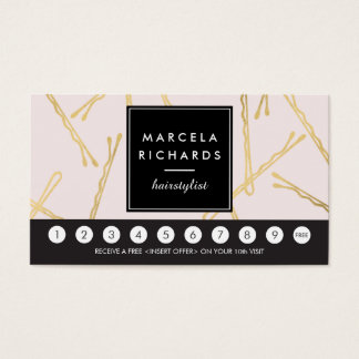 Chic Gold Bobby Pins Hair Stylist Pink Loyalty Business Card