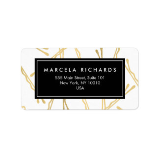 Chic Gold Bobby Pins Hair Stylist Salon Address Label