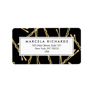 Chic Gold Bobby Pins Hair Stylist Salon Black Address Label