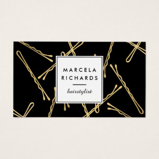Chic Gold Bobby Pins Hair Stylist Salon Black Business Card