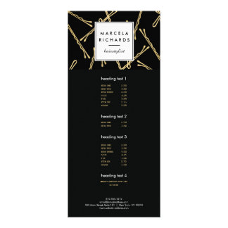 Chic Gold Bobby Pins Hair Stylist Salon Black Rack Card