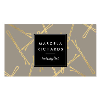 Chic Gold Bobby Pins Hair Stylist Salon Gray Pack Of Standard Business Cards