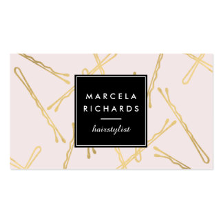 Chic Gold Bobby Pins Hair Stylist Salon Pink Pack Of Standard Business Cards