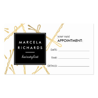 Chic Gold Bobby Pins Hairstylist Appointment Card Pack Of Standard Business Cards