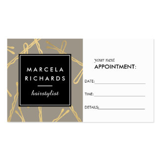 Chic Gold Bobby Pins Hairstylist III Appointment Pack Of Standard Business Cards