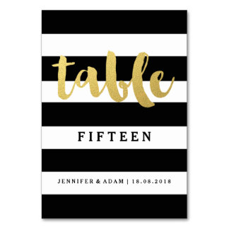 Chic Gold | Bold Black Stripe Table Numbers Table Card