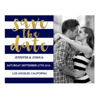 Chic Gold | Bold Blue Stripe Photo Save the Date Postcard