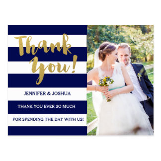 Chic Gold | Bold Blue Stripe Photo Thank You Postcard