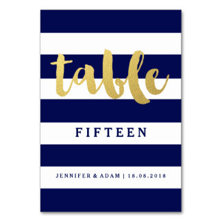 Chic Gold | Bold Blue Stripe Table Numbers Table Card