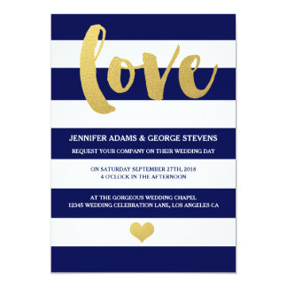 Chic Gold | Bold Blue Stripe Wedding Invitation